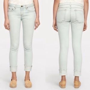 Rag & bone light wash boyfriend frayed hem jeans